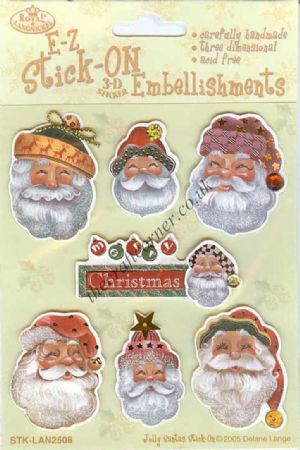 Jolly Santas 3d Sticker Embellishments For Christmas